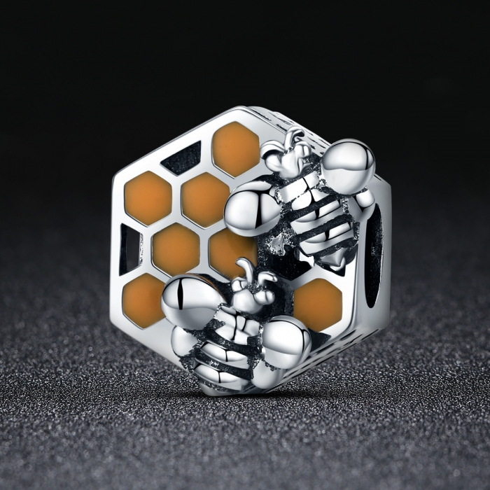 Charm argint 925 cu fagure si albinute - Be Nature PST0114 1