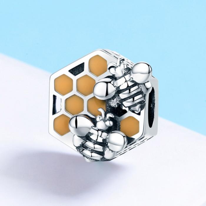 Charm argint 925 cu fagure si albinute - Be Nature PST0114 2