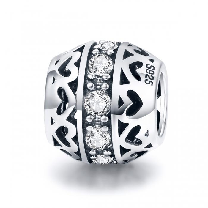 Charm argint 925 cu inimioare si zirconii albe- Be in Love PST0117 0