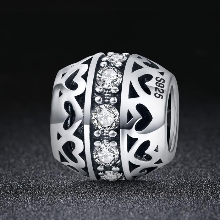 Charm argint 925 cu inimioare si zirconii albe- Be in Love PST0117 1