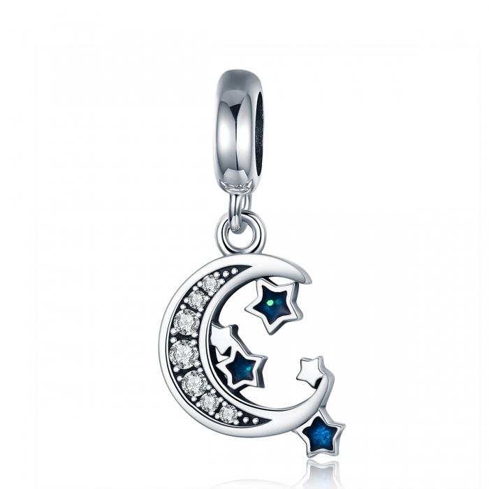 Charm argint 925 cu semiluna, stelute albastre si zirconii albe - Be Nature PST0124 0
