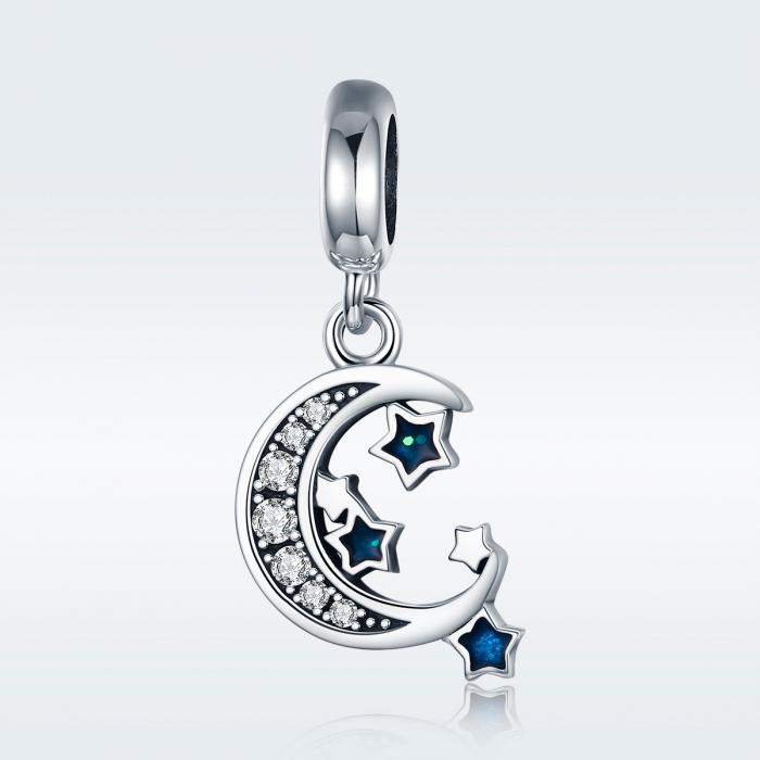 Charm argint 925 cu semiluna, stelute albastre si zirconii albe - Be Nature PST0124 1