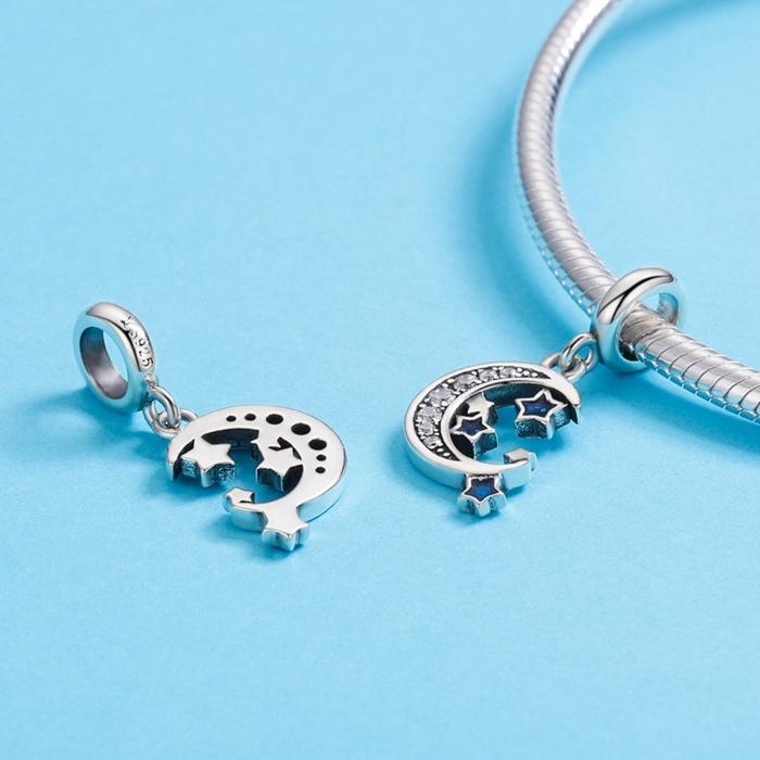 Charm argint 925 cu semiluna, stelute albastre si zirconii albe - Be Nature PST0124 2