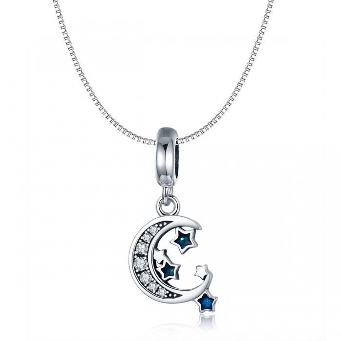Charm argint 925 cu semiluna, stelute albastre si zirconii albe - Be Nature PST0124 5