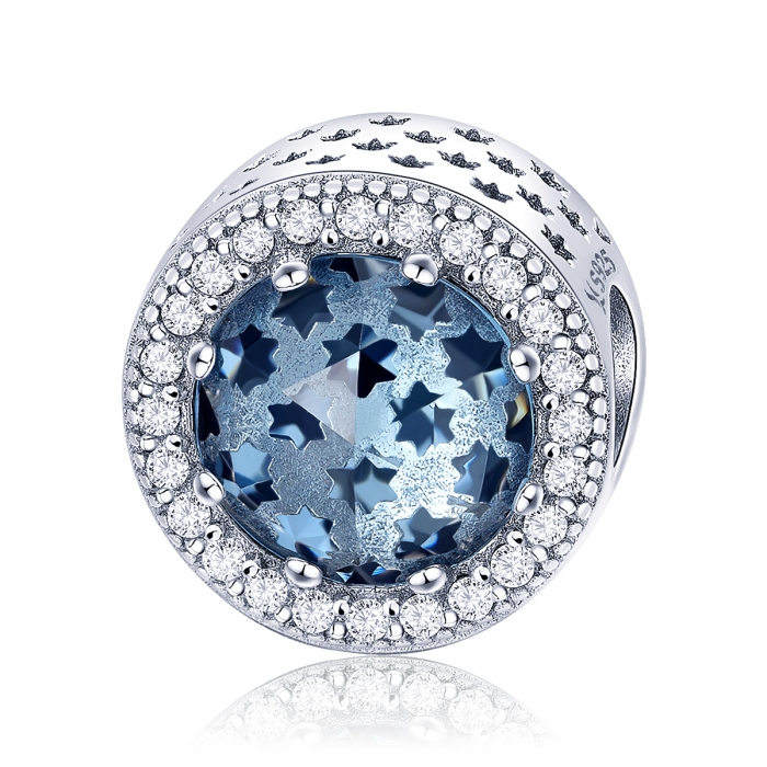 Charm argint 925 cu stelute albastre si zirconii albe - Be Nature PST0135 0