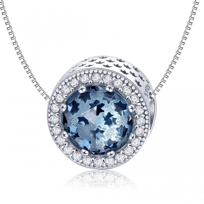 Charm argint 925 cu stelute albastre si zirconii albe - Be Nature PST0135 5
