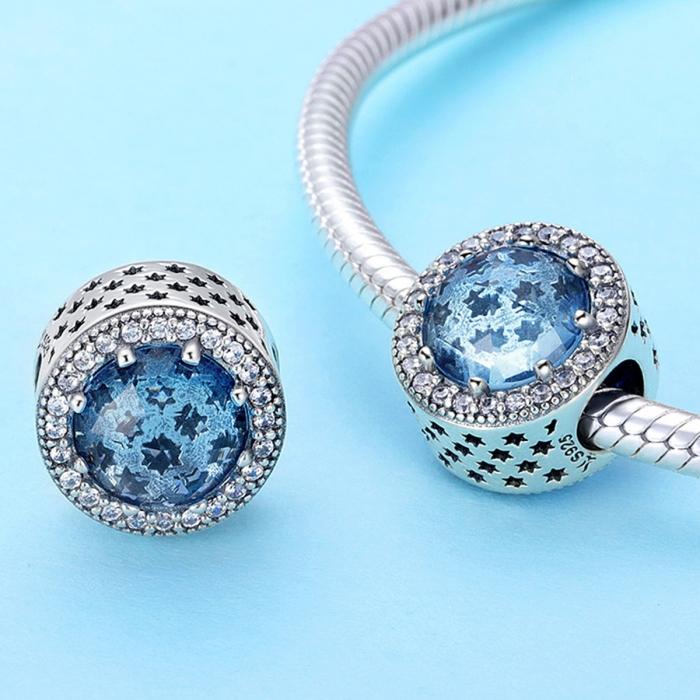 Charm argint 925 cu stelute albastre si zirconii albe - Be Nature PST0135 3