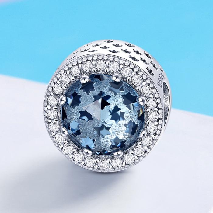 Charm argint 925 cu stelute albastre si zirconii albe - Be Nature PST0135 4