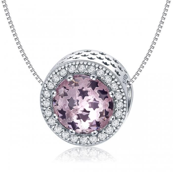 Charm argint 925 cu stelute roz si zirconii albe - Be Nature PST0136 4