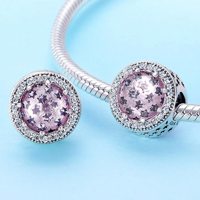 Charm argint 925 cu stelute roz si zirconii albe - Be Nature PST0136 1