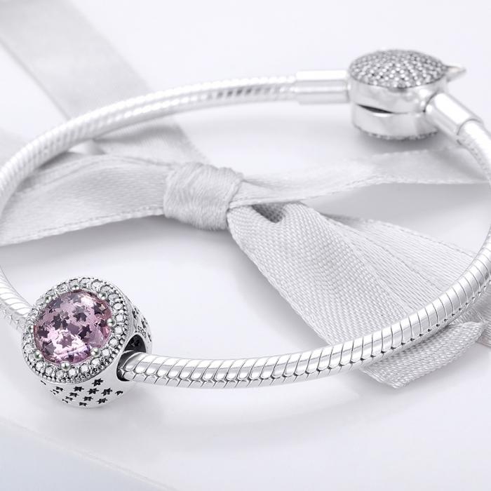 Charm argint 925 cu stelute roz si zirconii albe - Be Nature PST0136 2