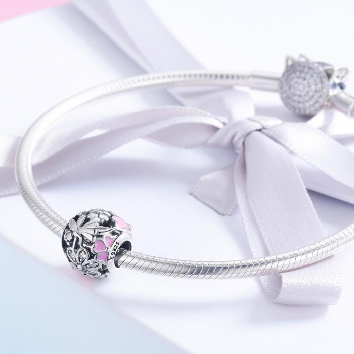 Charm argint 925 cu zana, floricele si zirconii albe - Be Fantastic PST0138 1
