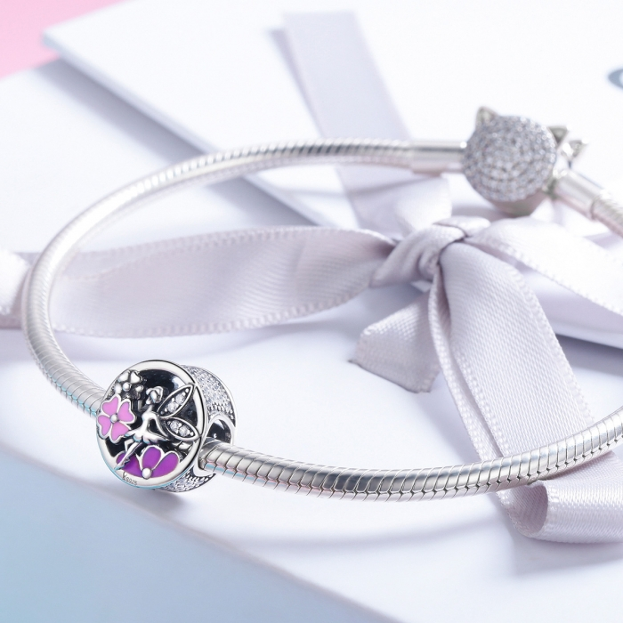 Charm argint 925 cu zana, floricele si zirconii albe - Be Fantastic PST0144 3