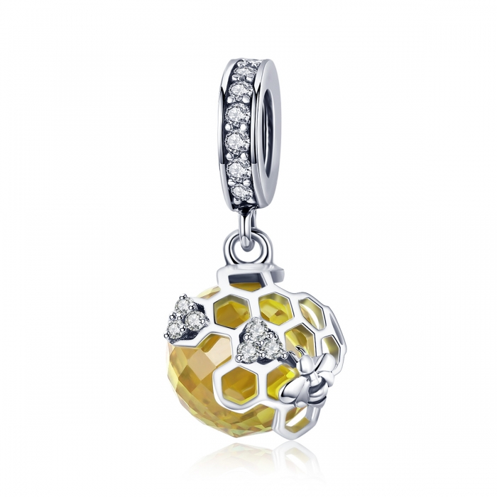 Charm argint 925 cu albinuta, fagure si zirconii - Be Nature PST0148 0