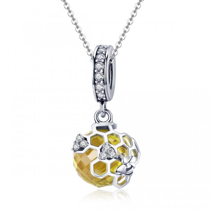 Charm argint 925 cu albinuta, fagure si zirconii - Be Nature PST0148 5