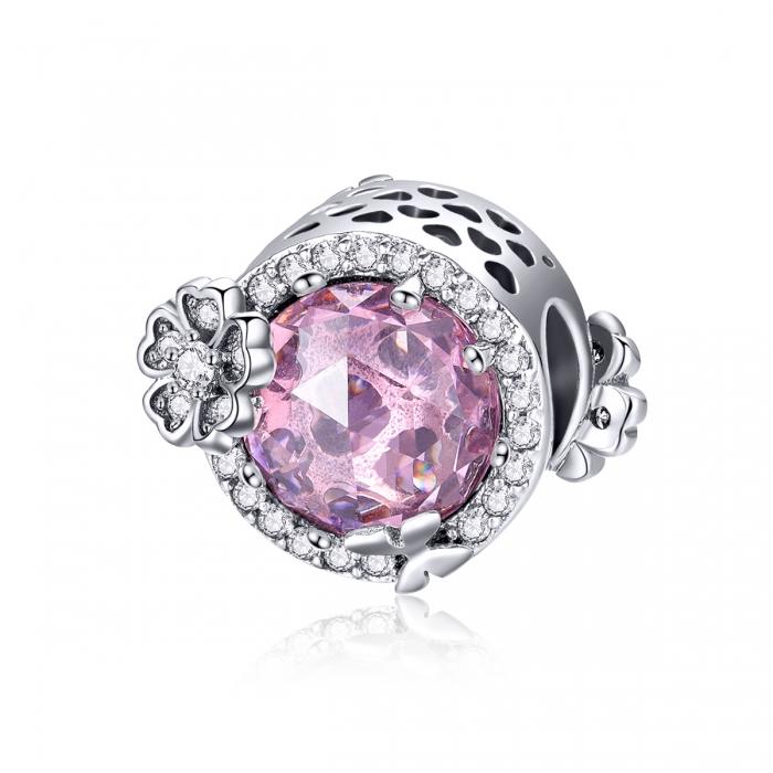 Charm argint 925 cu floricele, fluturasi si zirconii albe si roz - Be Nature PST0151 0