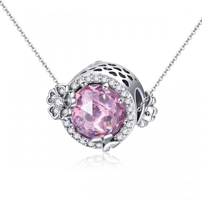 Charm argint 925 cu floricele, fluturasi si zirconii albe si roz - Be Nature PST0151 4