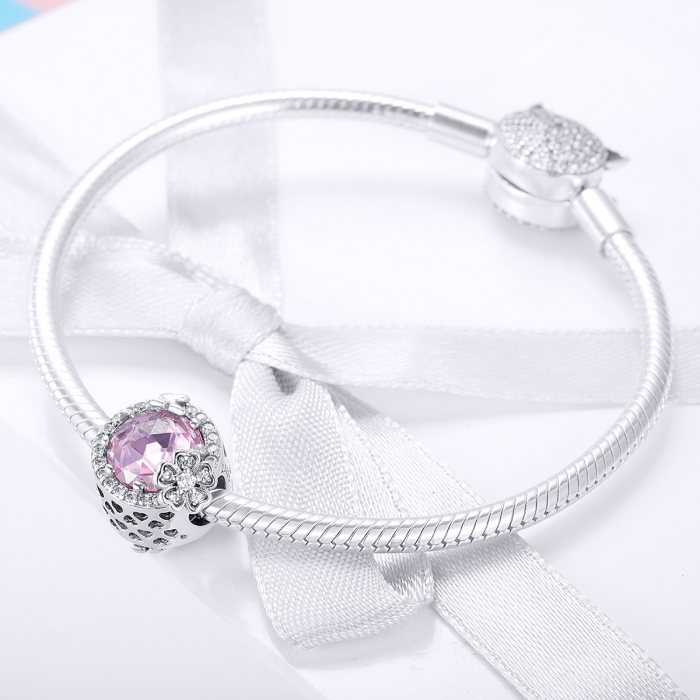 Charm argint 925 cu floricele, fluturasi si zirconii albe si roz - Be Nature PST0151 1
