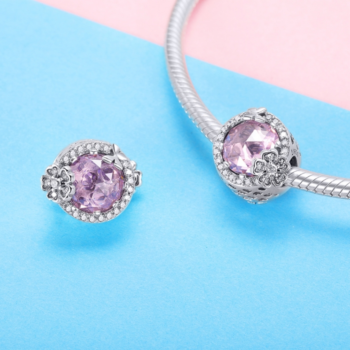 Charm argint 925 cu floricele, fluturasi si zirconii albe si roz - Be Nature PST0151 2