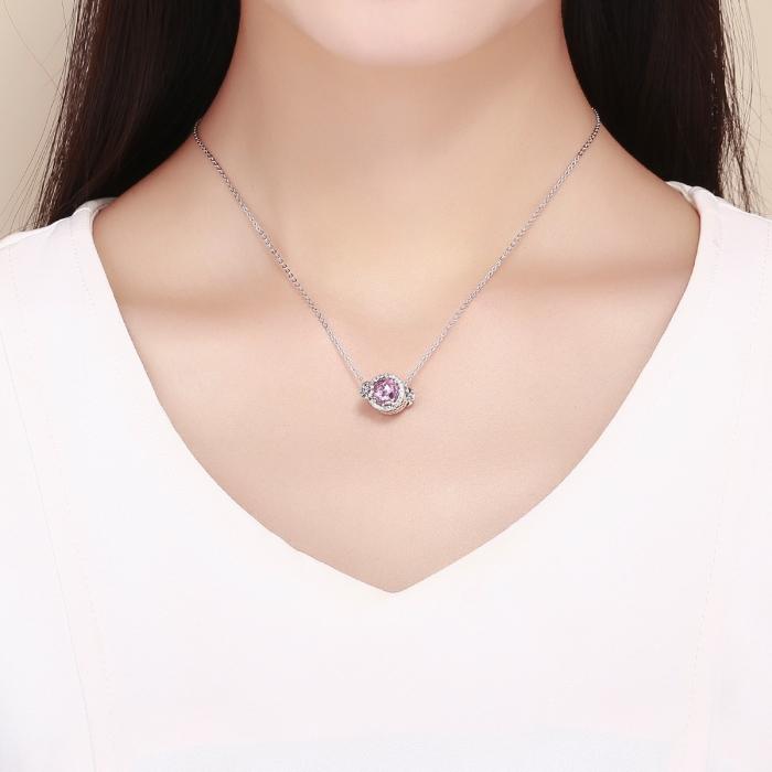 Charm argint 925 cu floricele, fluturasi si zirconii albe si roz - Be Nature PST0151 3