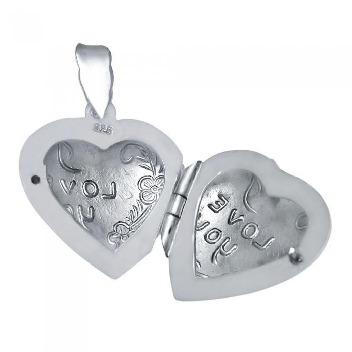 Pandant argint 925 rodiat inimioara se deschide gravat cu I Love you si doua floricicele - Be in Love, Be Special 1