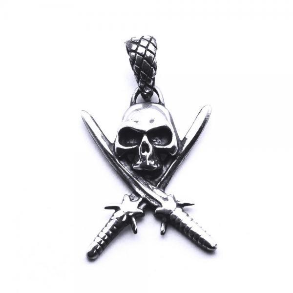 Pandant argint 925 craniu cu sabii 0