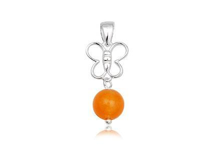 Pandant argint 925 cu jad galben portocaliu 0