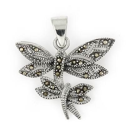Pandant argint 925 cu marcasite si doi fluturasi 1