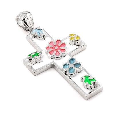 Pandant argint 925 in forma de cruce cu floricele 0