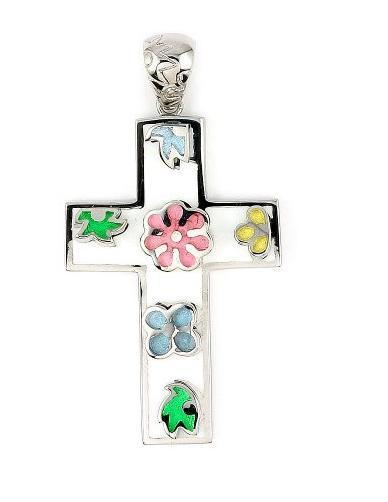 Pandant argint 925 in forma de cruce cu floricele 1