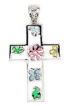 Pandant argint 925 in forma de cruce cu floricele 2
