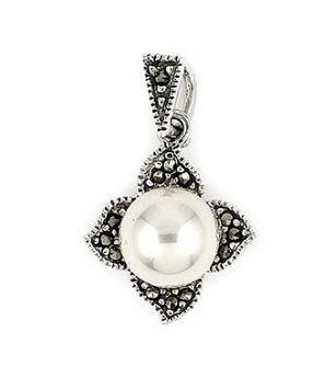 Pandant argint 925 in forma de floare cu marcasite si perla 1