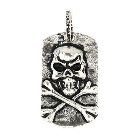 Pandant argint 925 placuta identificare cu craniu 0
