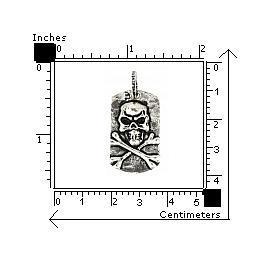 Pandant argint 925 placuta identificare cu craniu 1