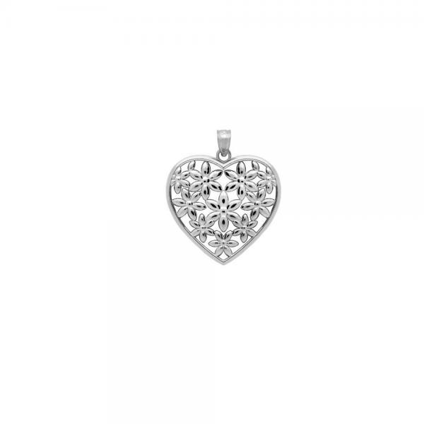 Pandant argint 925 rodiat inimioara cu floricele - Be Nature 1