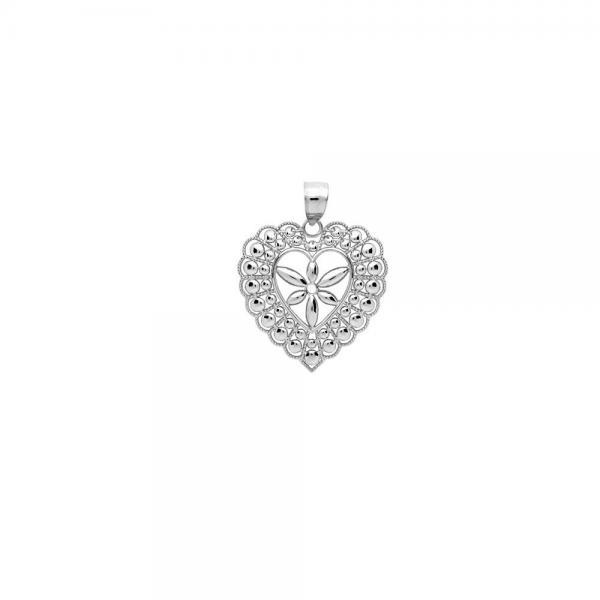 Pandant argint 925 rodiat inimioara cu floricica - Be Nature, Be Special 1