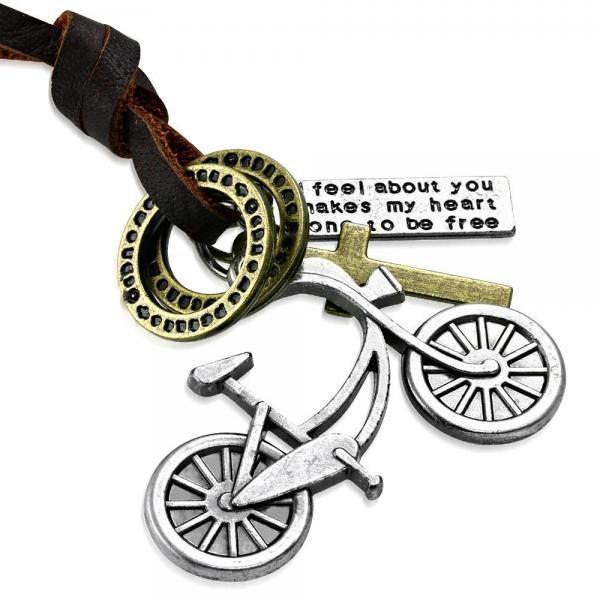 Pandant bicicleta cu snur din piele si cruce 0