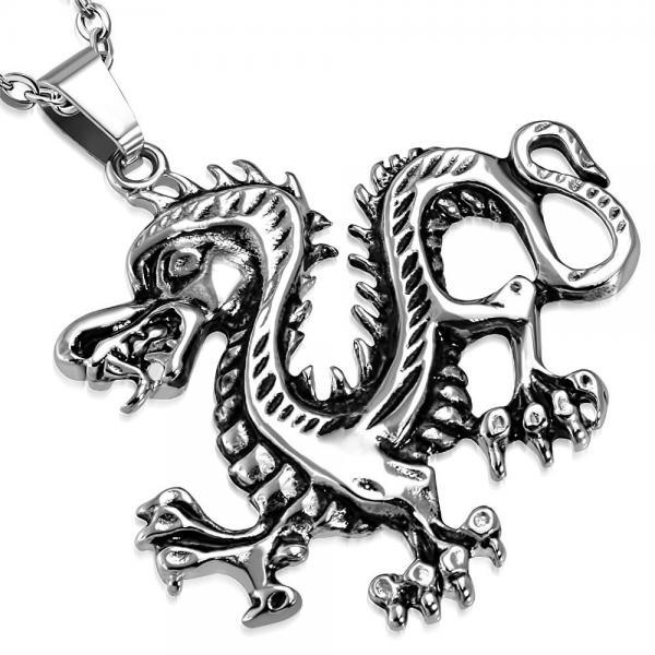 Pandant biker otel inox cu dragon 0