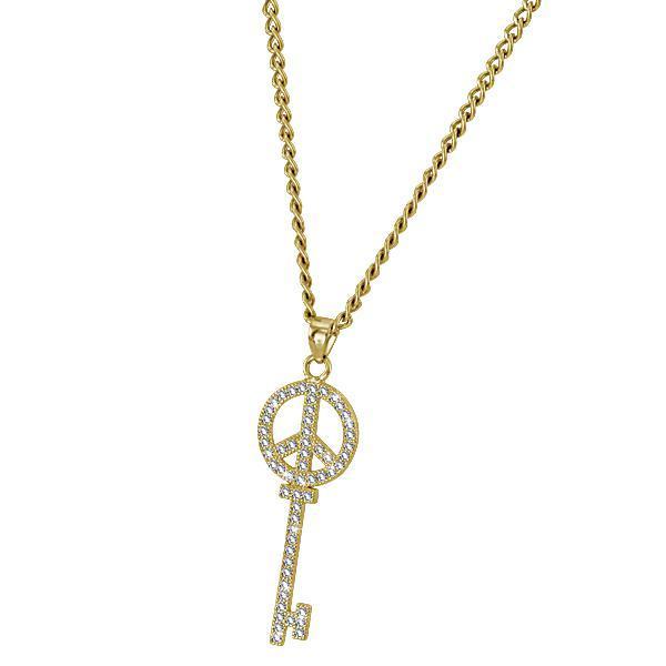 Pandant cheie din argint 925 placat cu aur si zirconii 0