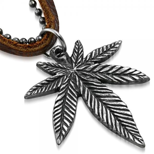Pandant frunza de Marijuana cu lant militar si snur piele 0