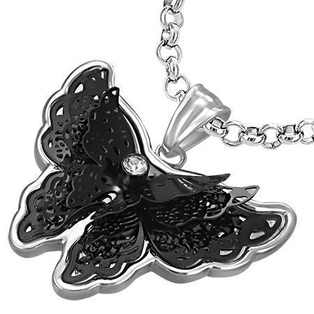 Pandant otel in forma de fluturas model 3D negru 0