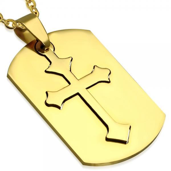 Pandant otel inox auriu placuta cu cruce 0