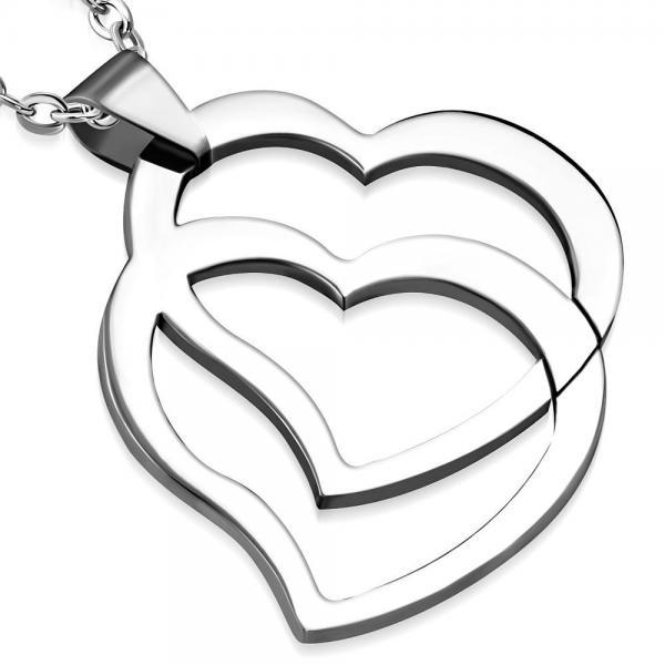 Pandant otel inox cu doua inimioare [0]
