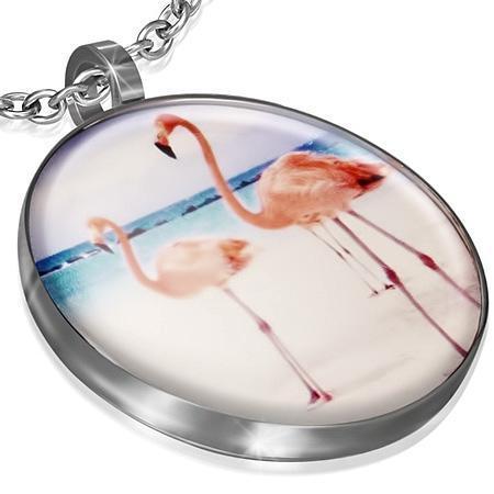 Pandant otel inox cu doua pasari flamingo [0]