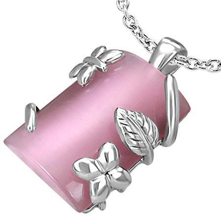 Pandant otel inox cu floricele si piatra roz semipretioasa [0]