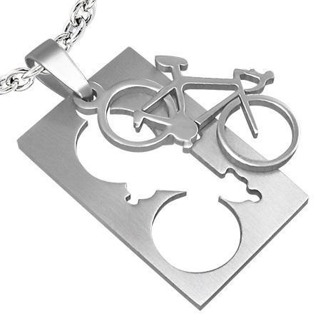 Pandant otel inox placuta cu bicicleta 1