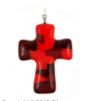 Pandant sticla Murano in forma de cruce 0