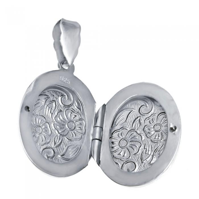 Pandantiv argint 925 rodiat gravat cu doua floricicele - Be Nature - BeSpecial 0