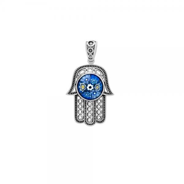 Pandantiv argint 925 Hamsa Mana lui Fatima cu murano 1