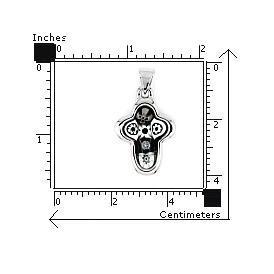 Pandantiv argint 925 cruce cu sticla Murano 2